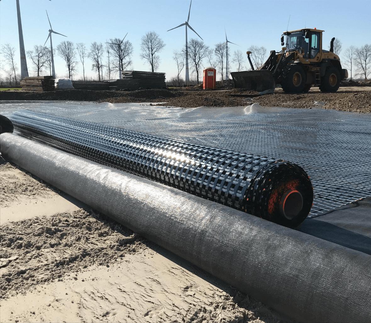 EnkaGrid_georid for soil stabilization wind mill park_copyrights Low & Bonar_Enka Solutions