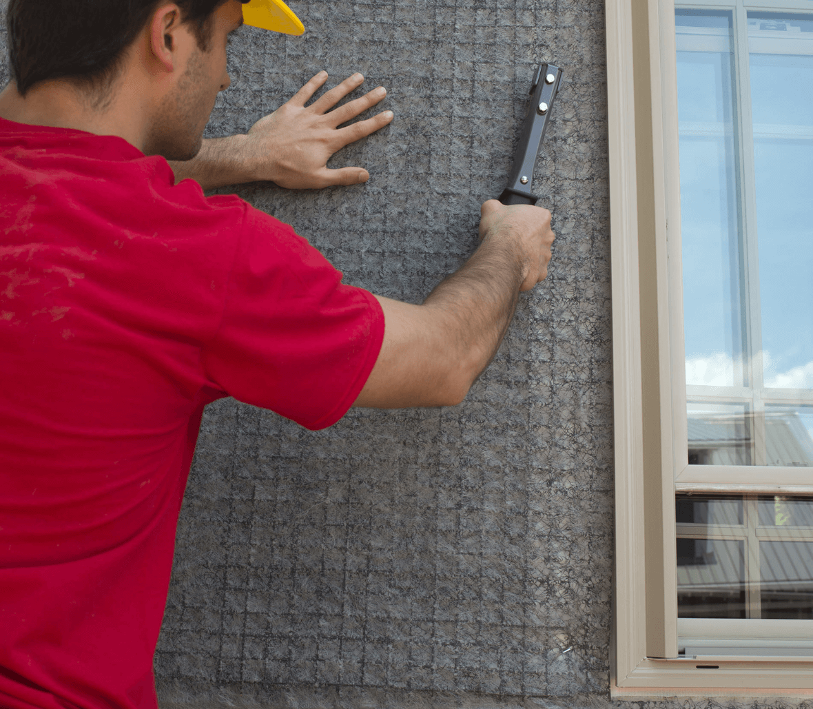 EnkaWallDrain rainscreen drainge mats instlallaiton on outside wall Credits Enka Solutions_©Low&Bonar