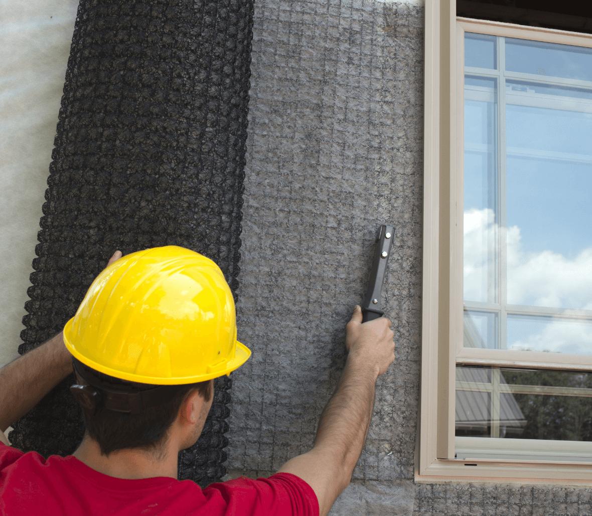 Wall drain Rainscreen installation outside window EnkaWallDrain Credits Enka Solutions_©Low&Bonar
